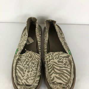 Sanuk Sidewalk Surfers Cream Beige Animal Print 10
